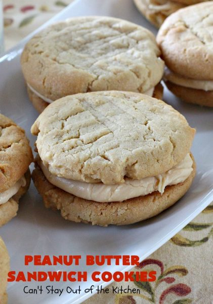 Peanut Butter Sandwich Cookies | Can't Stay Out of the Kitchen | these #cookies are irresistible. They're filled with #PeanutButter plus they have a luscious peanut butter frosting in the middle. They're so mouthwatering you won't be able to stop eating them! Great for #tailgating parties, birthdays or grilling out with friends. #dessert #PeanutButterCookies #PeanutButterSandwichCookies #southern #PeanutButterDessert #FavoritePeanutButterCookies