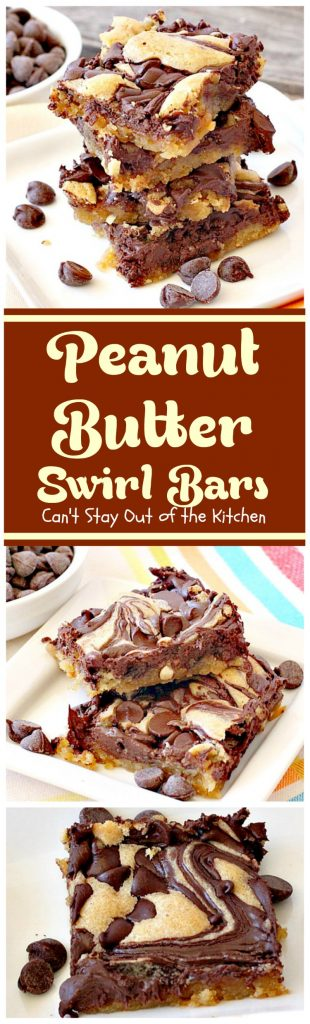 Peanut Butter Swirl Bars | Can't Stay Out of the Kitchen