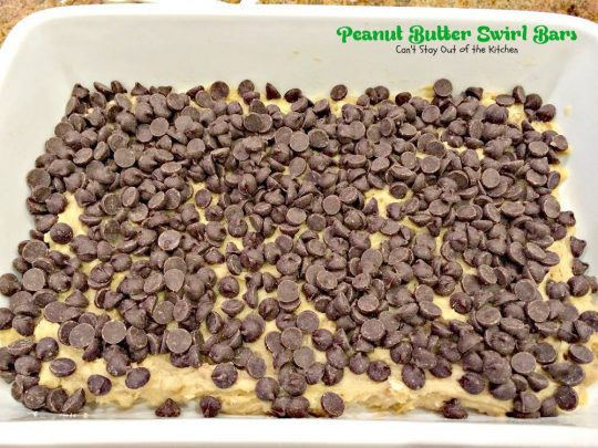 Peanut Butter Swirl Bars | Can't Stay Out of the Kitchen | these amazing #brownies have chunky #peanutbutter and #chocolatechips swirled through the batter. #chocolate #dessert #cookie