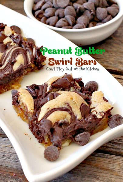 Peanut Butter Swirl Bars | Can't Stay Out of the Kitchen | some of our favorite #brownies ever! #chocolatechips are swirled into a delicious #peanutbutter #brownie batter. Rich, decadent, heavenly! #dessert #chocolate