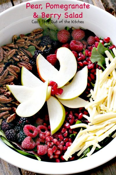 Pear, Pomegranate and Berry Salad | Can't Stay Out of the Kitchen | this fabulous #salad is heavenly! The combination of flavors is amazing. #pears #pomegranates #glutenfree