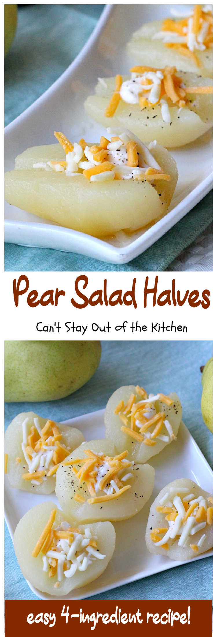 Pear Salad Halves | Can't Stay Out of the Kitchen | This amazing #recipe will have everyone asking for more! It's such a quick and easy way to serve #pears. Only 4-ingredients needed for this lovely #fruit #salad. #FruitSalad #GlutenFree #cheese #PearSaladHalves