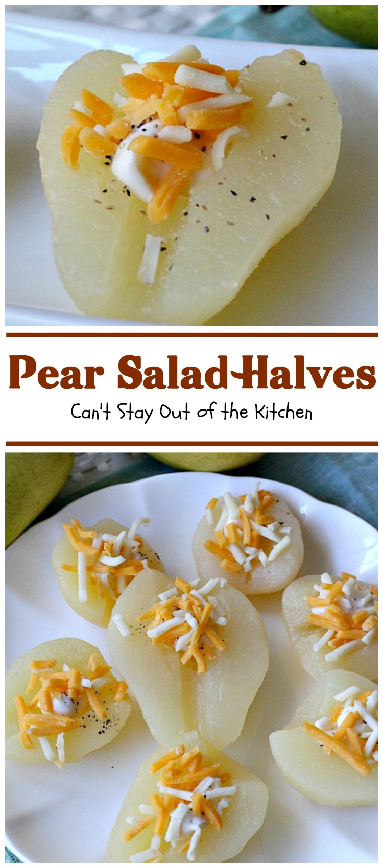 Pear Salad Halves | Can't Stay Out of the Kitchen | this is such a quick and easy way to serve #pears. Only 4-ingredients needed for this lovely #fruit #salad.