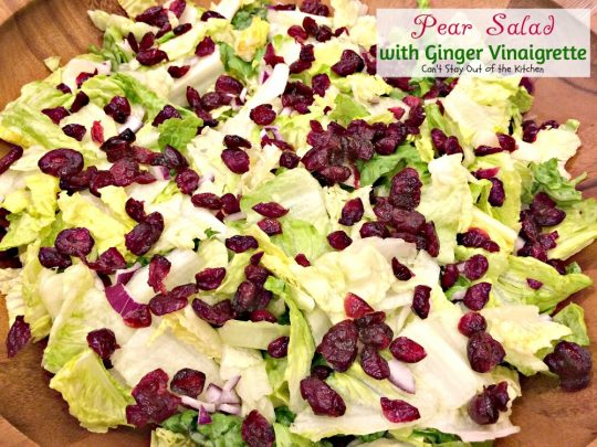 Pear Salad with Ginger Vinaigrette | Can't Stay Out of the Kitchen | this lovely #pear #salad has a wonderful homemade #vinaigrette. #glutenfree #pecans #cheese