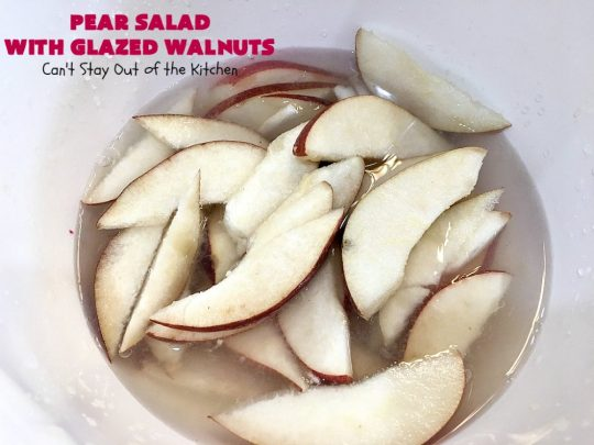 Pear Salad with Glazed Walnuts | Can't Stay Out of the Kitchen | this exotic #salad always gets rave reviews whenever I serve it. It's not difficult to make & so delicious. It uses #GlazedWalnuts, #Pears, #FetaCheese & a wonderful homemade #Lemon #Vinaigrette. #GlutenFree #TossedSalad #LemonVinaigrette #TossedSaladWithPears #PearSaladWithGlazedWalnuts #holiday #HolidaySideDish #MothersDay #FathersDay #Thanksgiving