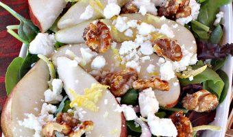 Pear Salad with Glazed Walnuts