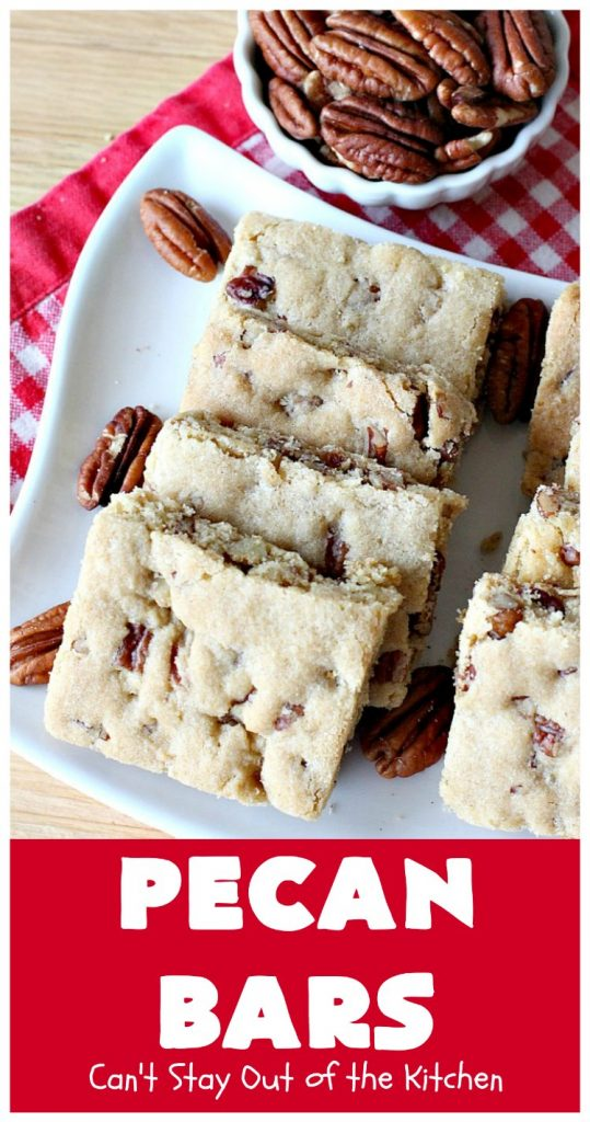 Pecan Bars | Can't Stay Out of the Kitchen | these delightful treats are absolutely dreamy. They'll cure any sweet tooth craving. If you enjoy #pecans you'll rave over this marvelous #cookie. #Holiday #dessert #PecanDessert #HolidayDessert #PecanPie #PecanBars #ChristmasCookieExchange #ValentinesDay