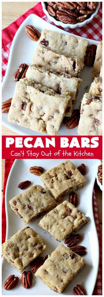 Pecan Bars   Can't Stay Out of the Kitchen   these delightful treats are absolutely dreamy. They'll cure any sweet tooth craving. If you enjoy #pecans you'll rave over this marvelous #cookie. #Holiday #dessert #PecanDessert #HolidayDessert #PecanPie #PecanBars #ChristmasCookieExchange #ValentinesDay