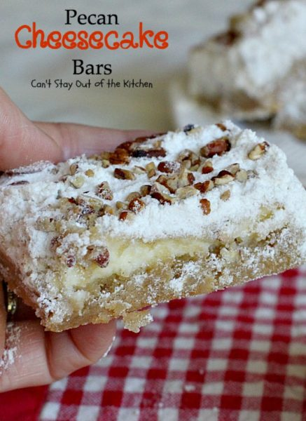 Pecan Cheesecake Bars | Can't Stay Out of the Kitchen | these lovely #pecan #brownies have a wonderful #cheesecake layer that makes them spectacular. #dessert