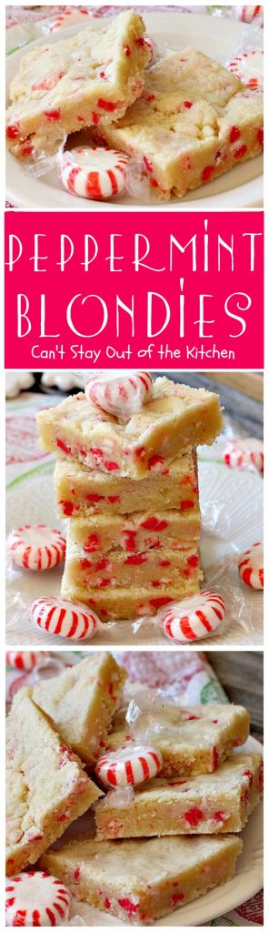 Peppermint Blondies | Can't Stay Out of the Kitchen | these amazing shortbread-type #cookies have #Andes #peppermint crunch baking chips. Fabulous for a #holiday #dessert.