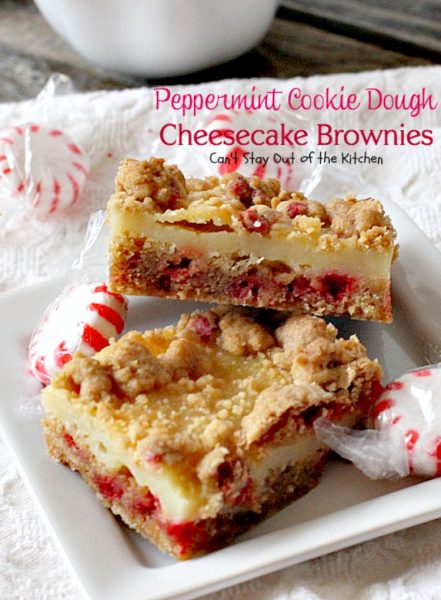 Peppermint Cookie Dough Cheesecake Brownies | Can't Stay Out of the Kitchen | these luscious #brownies are made with #Andes #peppermint baking chips & have a #cheesecake layer in the middle. Fantastic #dessert for the #holidays.
