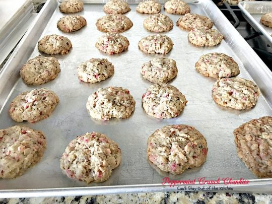 Peppermint Crunch Chunkies | Can't Stay Out of the Kitchen | these lovely oatmeal #cookies are filled with #coconut & #Andes #peppermint baking chips. They make an unbelievably heavenly #Christmas #dessert.