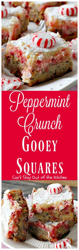 Peppermint Crunch Gooey Squares | Can't Stay Out of the Kitchen | these ooey gooey #cookies are fantastic for the #holidays. They use #Andes #peppermintcrunchbakingchips. If you love #peppermint you'll love this #cheesecake #dessert.