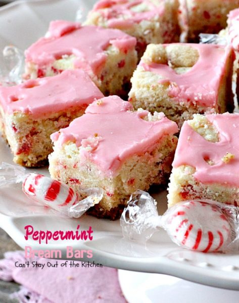Peppermint Dream Bars | Can't Stay Out of the Kitchen | these spectacular #cookies are based on the #ParadiseCafe #sugarcookie recipe. They include #andes #peppermint baking chips for an explosion of flavor. #dessert
