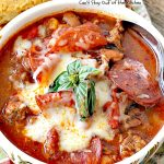 Pepperoni Pizza Chili   Can't Stay Out of the Kitchen   best #chili ever! This one combines #TexMex with #Italian for one incredible chili. #soup #glutenfree #pepperoni #mozzarellacheese #crockpot