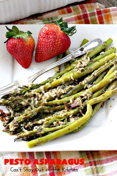 Pesto Asparagus | Can't Stay Out of the Kitchen | fabulous 3-ingredient side dish that's perfect for #holiday menus. So easy & a great way to serve #asparagus. #glutenfree #parmesancheese