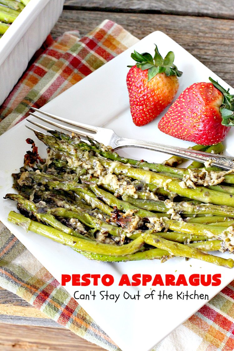 Pesto Asparagus   Can't Stay Out of the Kitchen   fabulous 3-ingredient side dish that's perfect for #holiday menus. So easy & a great way to serve #asparagus. #glutenfree #parmesancheese