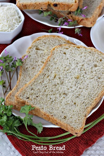 Pesto Bread | Can't Stay Out of the Kitchen | delicious #breadmaker #bread made with #pesto. #parmesancheese #basil