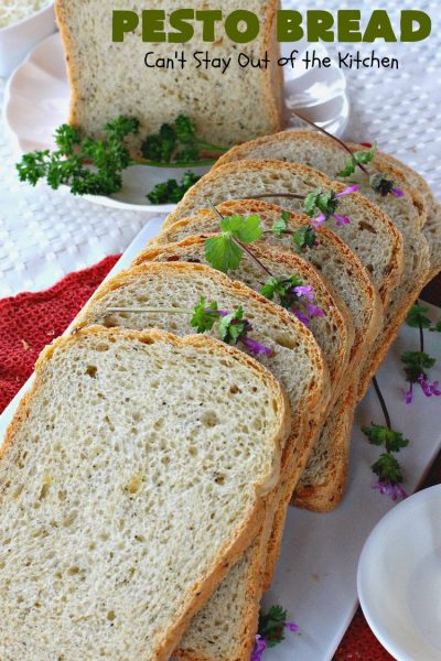 Pesto Bread | Can't Stay Out of the Kitchen | this tasty #HomemadeBread is heavenly. It has the flavors of #Pesto with #basil, #OliveOil, #ParmesanCheese & parsley. Plus, it's so easy to make since it's made in the #breadmaker. Terrific for #holiday or company menus. But it's a great dinner #bread to serve any time. #Thanksgiving #Christmas #Easter #Italian #ItalianDinnerBread