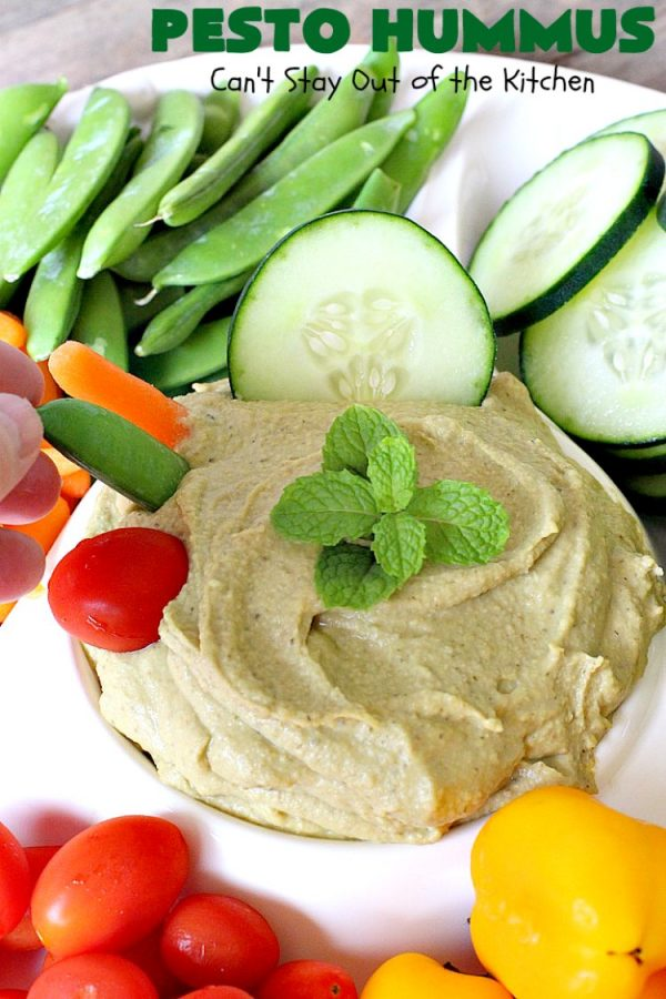 Pesto Hummus | Can't Stay Out of the Kitchen | this fantastic #hummus #recipe is filled with #pesto sauce, roasted #garlic & #garbanzobeans. It tastes so heavenly. It's a terrific #appetizer for company & great served with #veggie dippers. #LowCalorie #Healthy #GlutenFree #vegan #CleanEating