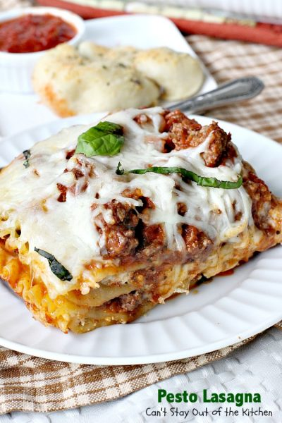 Pesto Lasagna | Can't Stay Out of the Kitchen | this amazing #lasagna is one of the BEST you'll ever eat! It uses oven-ready #noodles which makes it a lot easier to assemble. #pasta #pesto