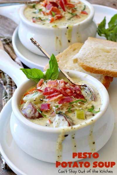 Pesto Potato Soup | Can't Stay Out of the Kitchen | This is an awesome #soup. It's filled with #pesto sauce #parmesan cheese & topped with #bacon. It's heavenly & certainly nice enough for company. #potatoes #glutenfree