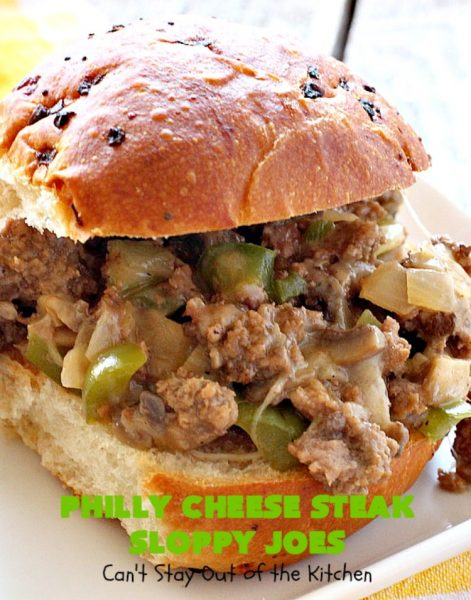 Philly Cheese Steak Sloppy Joes | Can't Stay Out of the Kitchen | these spectacular #SloppyJoes are so mouthwatering & delicious. They can be made in about 15 minutes, making them perfect for busy weeknight dinners. We loved them! #sandwiches #PhillyCheeseSteak