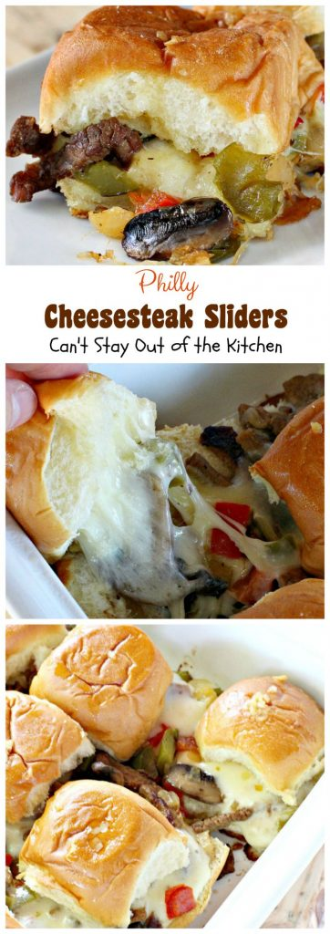 Philly Cheesecake Sliders | Can't Stay Out of the Kitchen | one of the most scrumptious #sliders you'll ever eat. Great for #tailgating parties or the #SuperBowl! These use #King'sHawaiianRolls.