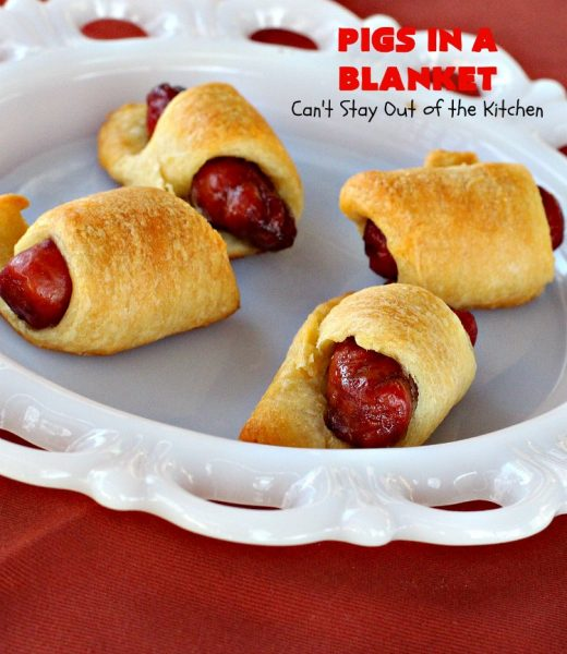 Pigs in a Blanket | Can't Stay Out of the Kitchen | this super easy 2-ingredient #recipe is perfect for a company or #holiday #breakfast. We also like to serve it as an #appetizer for #tailgating parties, potlucks, even the #SuperBowl! Everyone always loves this simple but delicious way to use #LilSmokies #CrescentRolls #Pillsbury #pork #EasyTailgatingAppetizer #sausages #EasyHolidayBreakfast