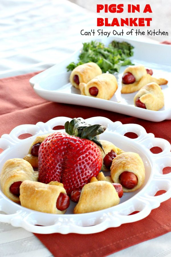 Pigs in a Blanket   Can't Stay Out of the Kitchen   this super easy 2-ingredient #recipe is perfect for a company or #holiday #breakfast. We also like to serve it as an #appetizer for #tailgating parties, potlucks, even the #SuperBowl! Everyone always loves this simple but delicious way to use #LilSmokies #CrescentRolls #Pillsbury #pork #EasyTailgatingAppetizer #sausages #EasyHolidayBreakfast