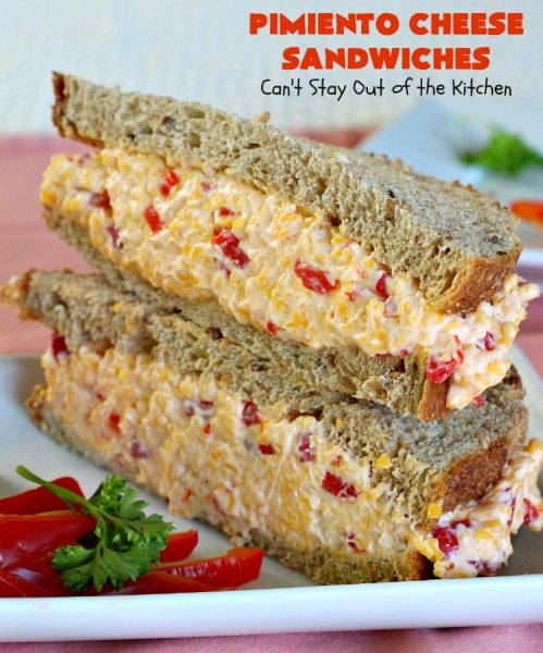Pimiento Cheese Sandwiches | Can't Stay Out of the Kitchen | these #sandwiches have always been a family favorite because I use #CreamCheese. So delicious. #Pimientos #CheddarCheese #PimentoCheeseSandwiches