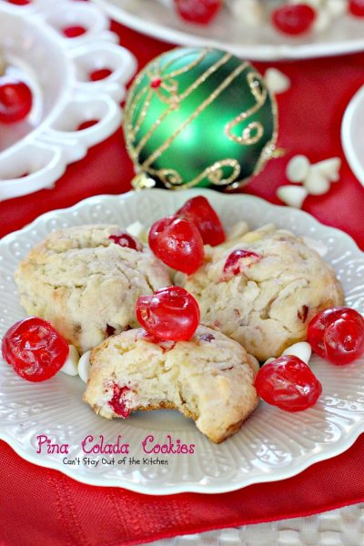 Pina Colada Cookies | Can't Stay Out of the Kitchen | these sensational #cookies are so beautiful and festive making them great for #holiday #baking. #dessert #cherries #pineapple #almonds #coconut