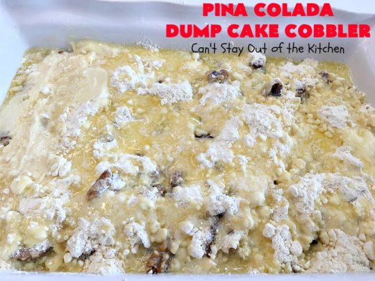 Pina Colada Dump Cake Cobbler | Can't Stay Out of the Kitchen | this easy 6-ingredient #dessert will have you salivating from the first bite. It's so easy to toss together that it's perfect for potlucks, company desserts or family dinners. #PinaColada #PinaColadaDessert #cobbler #pineapple #DumpCake #coconut #PinaColadaDumpCaeCobblerPina Colada Dump Cake Cobbler | Can't Stay Out of the Kitchen | this easy 6-ingredient #dessert will have you salivating from the first bite. It's so easy to toss together that it's perfect for potlucks, company desserts or family dinners. #PinaColada #PinaColadaDessert #cobbler #pineapple #DumpCake #coconut #PinaColadaDumpCakeCobbler