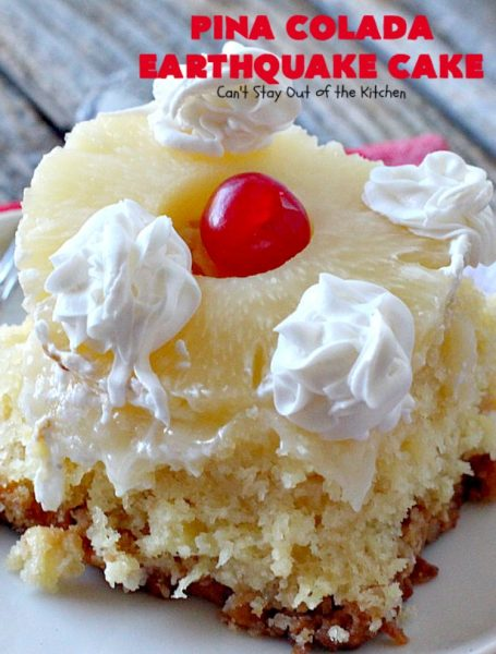 Pina Colada Earthquake Cake | Can't Stay Out of the Kitchen | best #cake ever! This heavenly #dessert is filled with #pineapple, #coconut, macadamia nuts & vanilla chips. #Creamcheese frosting bakes into the cake causing it to crater, erupt & explode in an earthquake! Perfect for #holidays or special occasions.