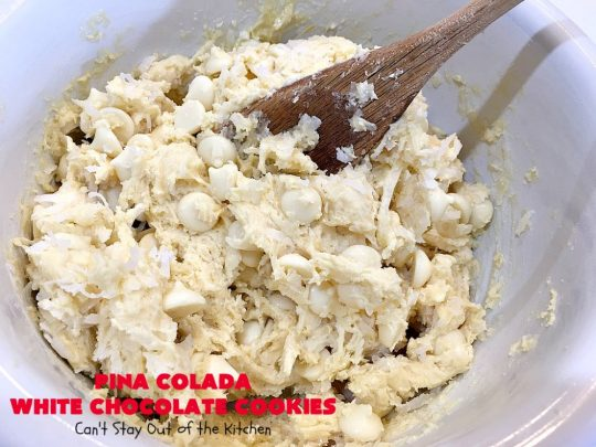 Pina Colada White Chocolate Cookies | Can't Stay Out of the Kitchen | this quick & easy 5-ingredient #cookie is crazy good! You can have #dessert made in about 30 minutes with this simple #recipe. If you enjoy the flavor of #PinaColadas you'll love these cookies. #Pineapple #Coconut #WhiteChocolateChips #chocolate #PinaColada #PinaColadaWhiteChocolateCookies #PinaColadaDessert #ChocolateDessert #PineappleDessert #tailgating
