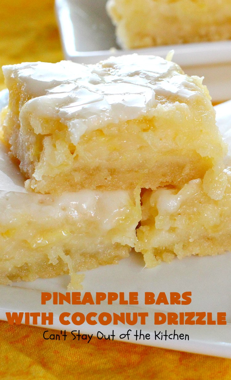 Pineapple Bars with Coconut Drizzle   these spectacular #dessert bars will have you absolutely drooling! They are heavenly and mouthwatering with a crust layer, #pineapple layer, #streusel layer & a #coconut glaze over top. Perfect for #holidays like #Easter or #MothersDay. #PineappleDessert #HolidayDessert #EasterDessert #MothersDayDessert #cookie #brownie #PineappleCookies #PinaColada #PinaColadaDessert