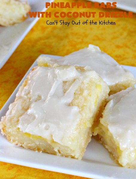 Pineapple Bars with Coconut Drizzle | these spectacular #dessert bars will have you absolutely drooling! They are heavenly and mouthwatering with a crust layer, #pineapple layer, #streusel layer & a #coconut glaze over top. Perfect for #holidays like #Easter or #MothersDay. #PineappleDessert #HolidayDessert #EasterDessert #MothersDayDessert #cookie #brownie #PineappleCookies #PinaColada #PinaColadaDessert