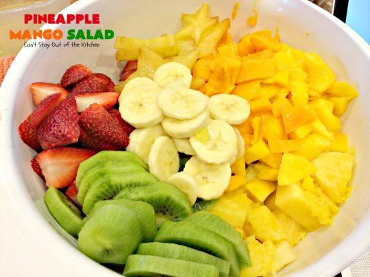 Pineapple Mango Salad | Can't Stay Out of the Kitchen | this is the perfect #salad for summer #holidays like the #FourthofJuly. The tropical flavors are heavenly. #pineapple #kiwi #strawberries #glutenfree #vegan