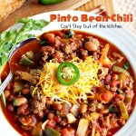 Pinto Bean Chili | Can't Stay Out of the Kitchen | fabulous hot & spicy #chili with 2 kinds of #beans & lots of veggies. #beef #glutenfree #cleaneating