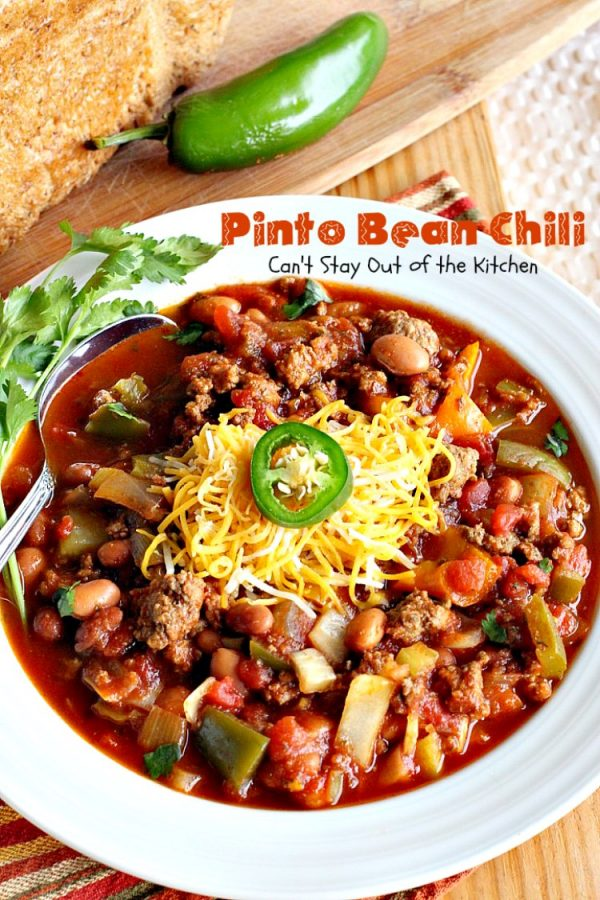 Pinto Bean Chili   Can't Stay Out of the Kitchen   fabulous hot & spicy #chili with 2 kinds of #beans & lots of veggies. #beef #glutenfree #cleaneating