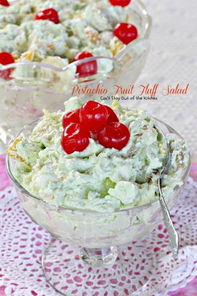 Pistachio Fruit Fluff Salad | Can't Stay Out of the Kitchen | Such a quick, easy and refreshing #fruitsalad for summer barbecues and #holidays. #fruit #salad