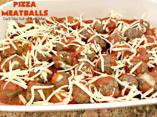 Pizza Meatballs | Can't Stay Out of the Kitchen | this delightful 30-minute #meatballs recipe is perfect for weeknights when you're short on time. It's kid-friendly & delicious comfort food. #pizza #beef #cheese #pasta