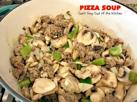 Pizza Soup | Can't Stay Out of the Kitchen | this easy 30-minute #soup is like eating your favorite #pepperoni or Italian #sausage #pizza but in soup form! It's absolutely terrific. #glutenfree