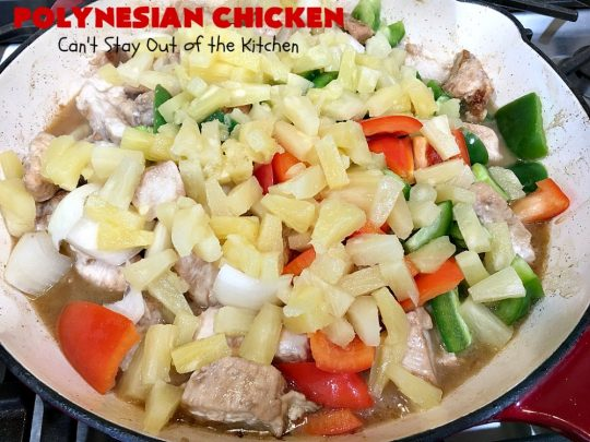Polynesian Chicken | Can't Stay Out of the Kitchen | this quick & easy 30-minute entree is perfect for weeknight dinners when you're short on time. It's got amazing #Polynesian flavors with #pineapple & a #Caribbean sauce added to the ingredients. #GlutenFree #chicken #PolynesianChicken #30MinuteMeal
