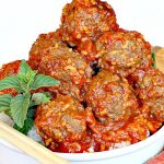Porcupine Meatballs   Can't Stay Out of the Kitchen   these delicious #meatballs are smothered in a tasty #spaghettisauce. Made with #rice so they're #glutenfree. #beef #groundbeef