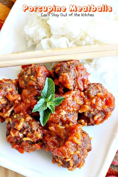 Porcupine Meatballs | Can't Stay Out of the Kitchen | these delicious #meatballs are smothered in a tasty #spaghettisauce. Made with #rice so they're #glutenfree. #beef #groundbeef