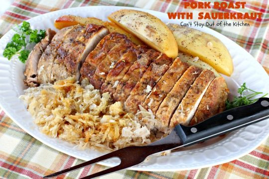 Pork Roast with Sauerkraut | Can't Stay Out of the Kitchen | our favorite comfort food when we were growing up. This is terrific for #Easter & company dinners. Uses only a handful of ingredients so it's very easy. #glutenfree #sauerkraut #pork