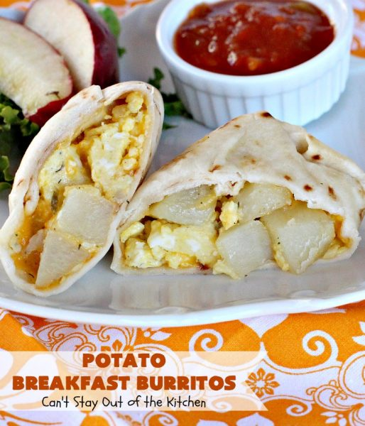 Potato Breakfast Burritos | Can't Stay Out of the Kitchen | these #BreakfastBurritos are heavenly! Warm #tortillas are filled with seasoned #FriedPotatoes, #eggs & #CheddarCheese. They are so mouthwatering, hearty, filling & totally satisfying for #breakfast or #MeatlessMondays. These can be made up ahead then microwaved when you're on the way out the door! #potatoes #burritos #TexMex #TexMexBreakfastBurritos #Holiday #PotatoBreakfastBurritos #HolidayBreakfast
