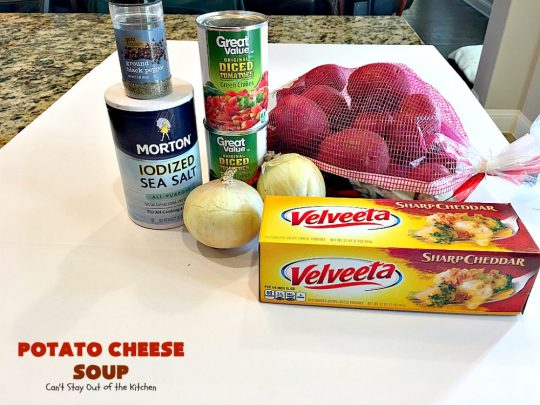 Potato Cheese Soup | Can't Stay Out of the Kitchen | this amazing #soup will soon become a favorite! Uses diced #tomatoes with green #chilies & #velveeta. Quick & easy, too. #glutenfree
