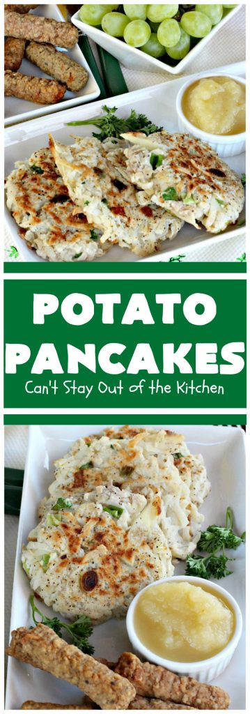 Potato Pancakes | Can't Stay Out of the Kitchen | this vintage #recipe is a keeper! It's great to serve for #Breakfast or #dinner. Serve with #applesauce, ketchup or the condiments of your choice. #potatoes #GlutenFree #Holiday #PotatoPancakes #HolidayBreakfast #healthy #CleanEating #HashBrownPotatoes